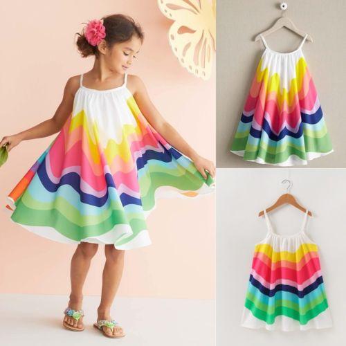 Letní duhové plážové dívčí šaty na ramínka