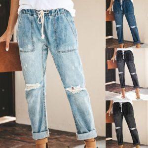Dámské ležérní džíny v módním trhaném stylu