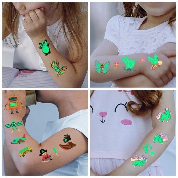 Dočasné falešné svítící tetování pro děti