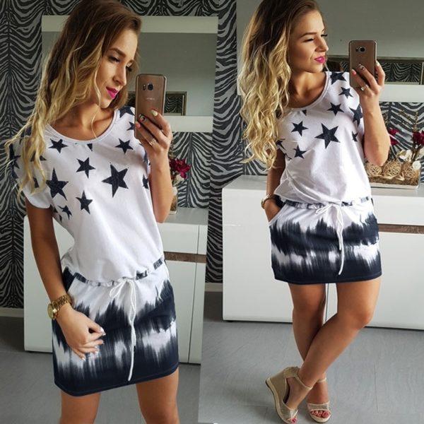 Dámské plus size letní bavlněné hvězdičkové šaty