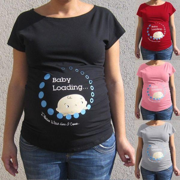 Krásné vtipné těhotenské triko s krátkým rukávem