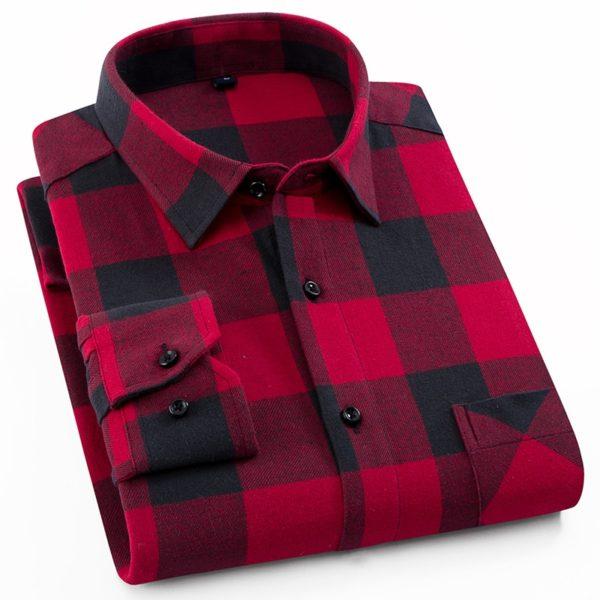 Pánská trendy flanelová kostkovaná košile s dlouhým rukávem