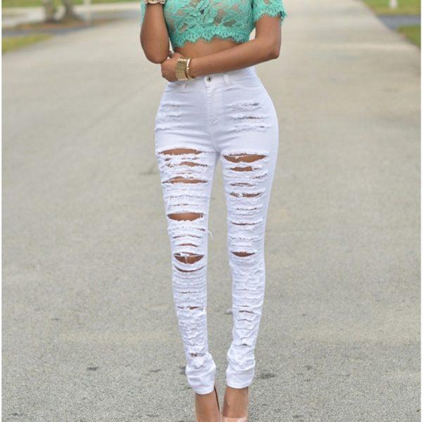 Dámské Skinny Ripped Jeans