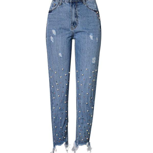 Dámské boyfriend potrhané džíny s perličkama