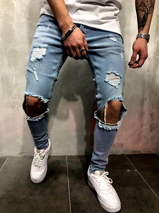 Pánské skinny džíny s dírami na kolenou