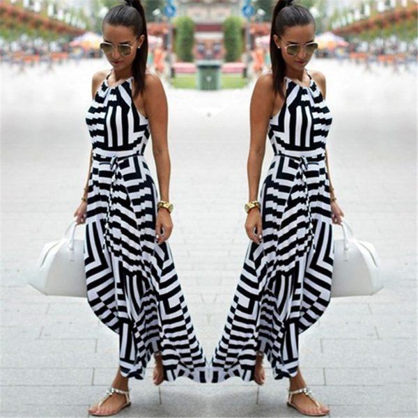 Letní dámské maxi proužkované šaty