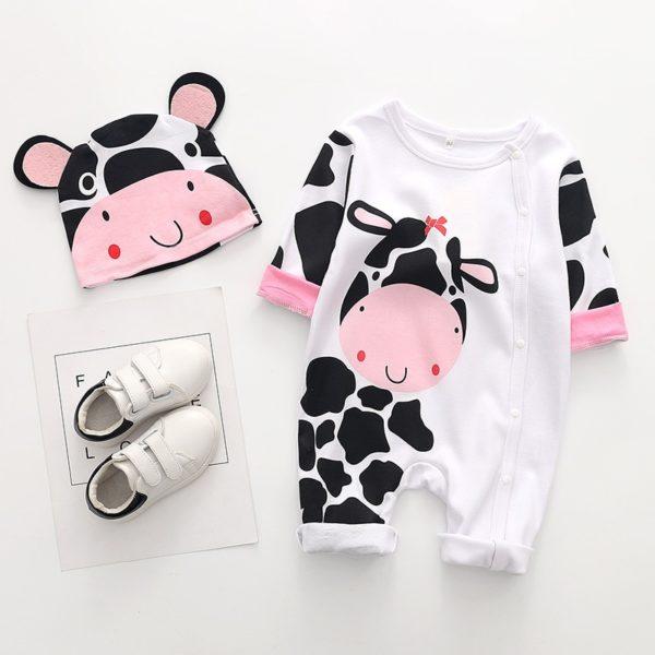 Roztomilý pyžamový set / overal s dlouhým rukávem a čepičkou