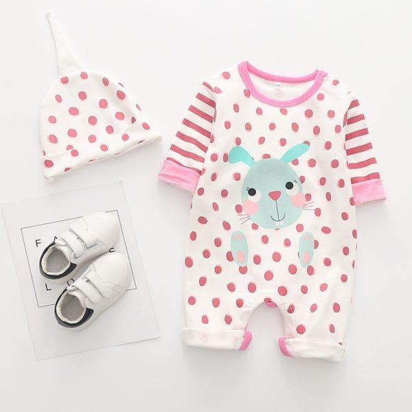 Roztomilý pyžamový set / overal s králíčkem a dlouhým rukávem + čepičkou