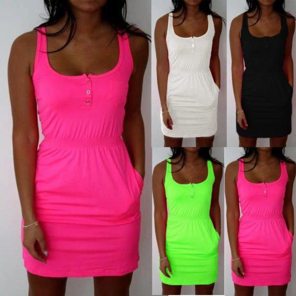 Dámské neonové šaty s elastickým pasem a knoflíčky