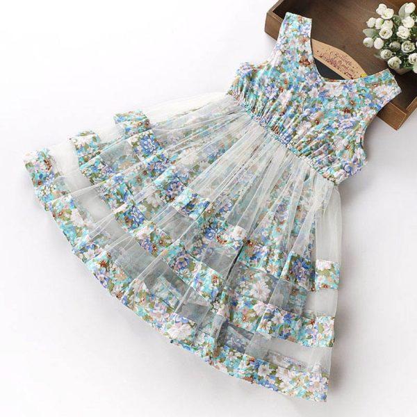 Dívčí tylové šaty s květinami