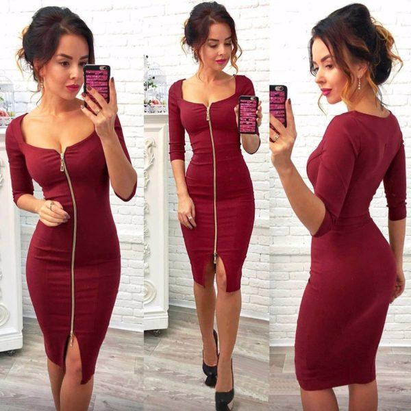Dámské pouzdrové šaty se zipem v různých barvách