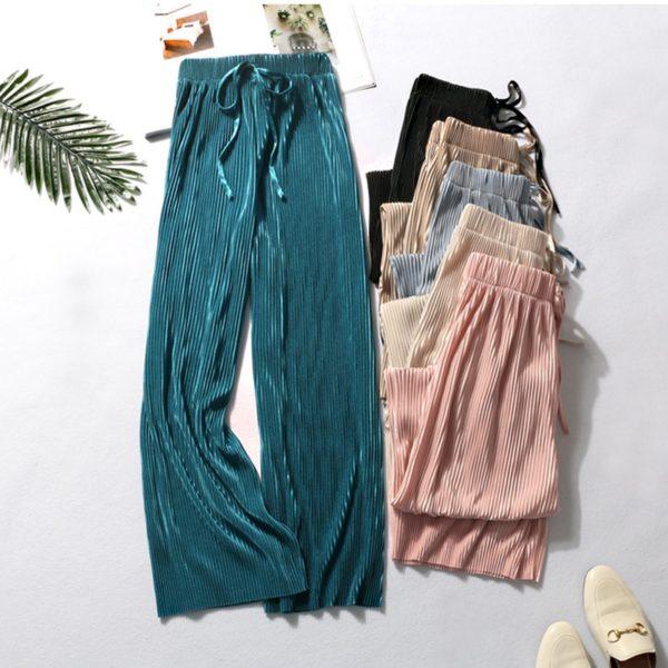 Dámské letní široké kalhoty s vysokým pasem