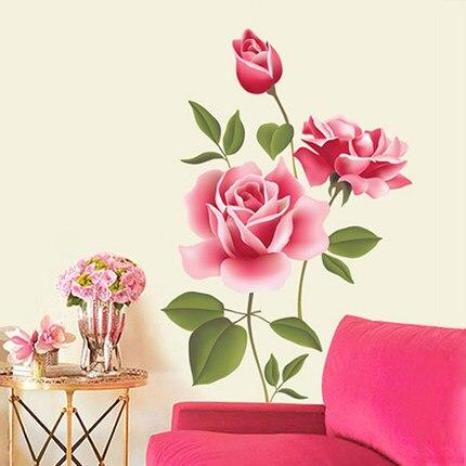 Romantická samolepka na zeď - půvabná růže