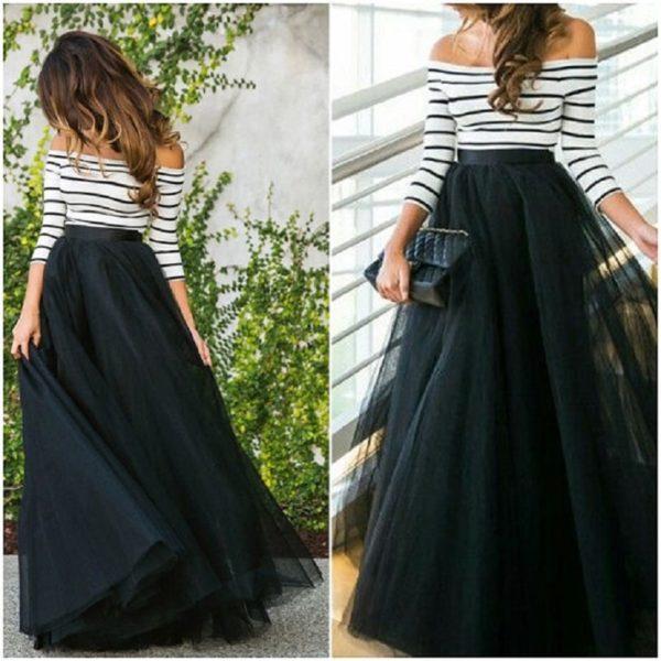 Dámská elegantní dlouhá maxi sukně