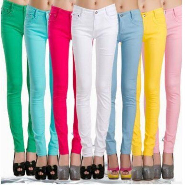 Dámské skinny barevné džíny s vysokým pasem