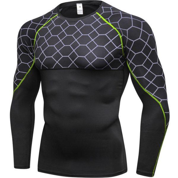 Kompresní pánské fitness triko na cvičení s dlouhým rukávem