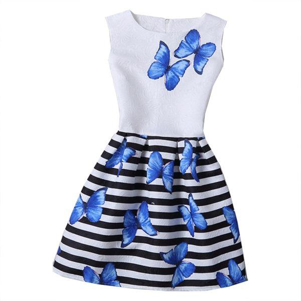 Dívčí slavnostní koktejlové letní pruhované šaty s motýli