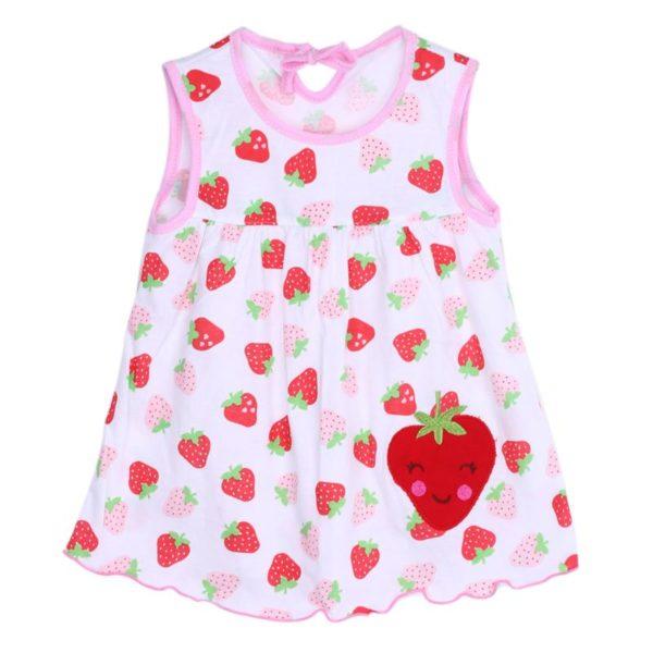 Dívčí novorozenecké letní šaty s širokými ramínky a roztomilým vzorem