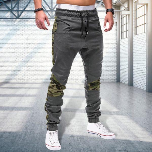Pánské moderní maskáčové kalhoty na zavazování