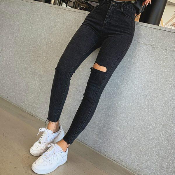 Dámské skinny potrhané džíny s vysokým pasem