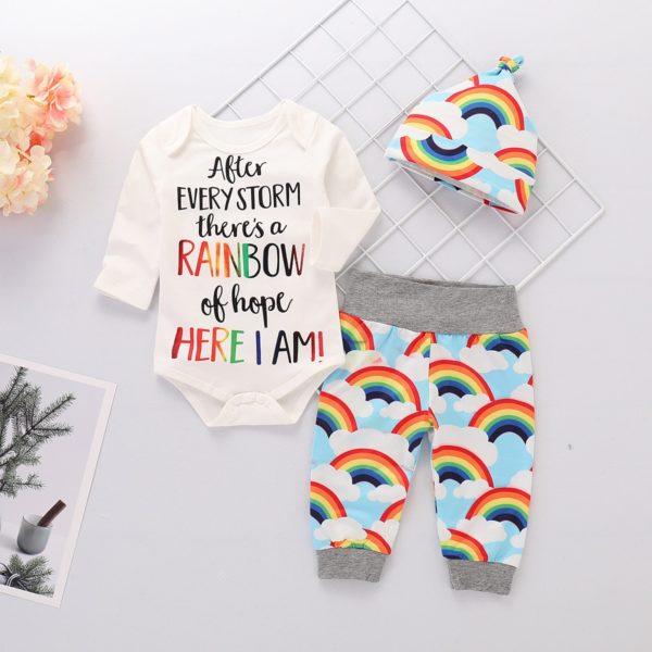 Duhový veselý 3dílný set pro novorozence
