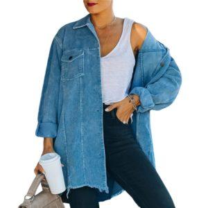 Dámská dlouhá džínová oversize bunda