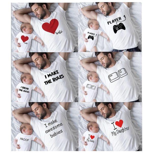 Vtipné jednoduché tričko s krátkým rukávem pro miminko a tatínka