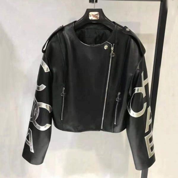 Dámská kožená bunda se stříbrným vzorem