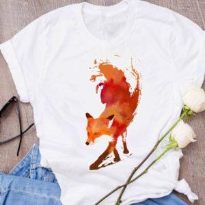 Dámské tričko s krátkým rukávem s potiskem lišky