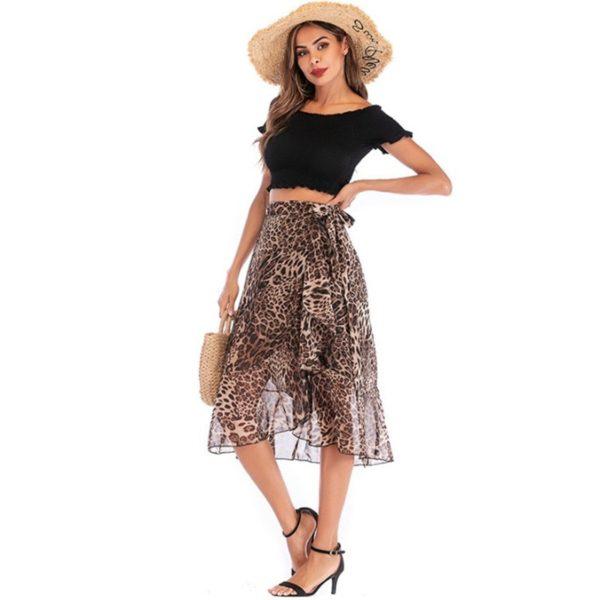 Letní dámská šifonová leopardí sukně