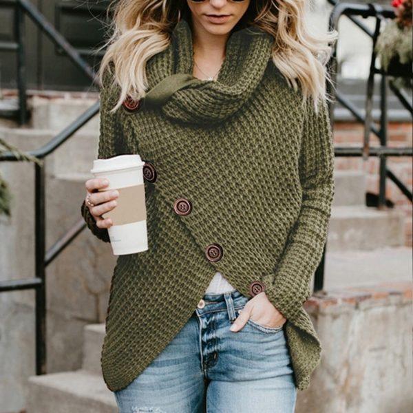 Dámský moderní svetr s jedinečným zapínáním