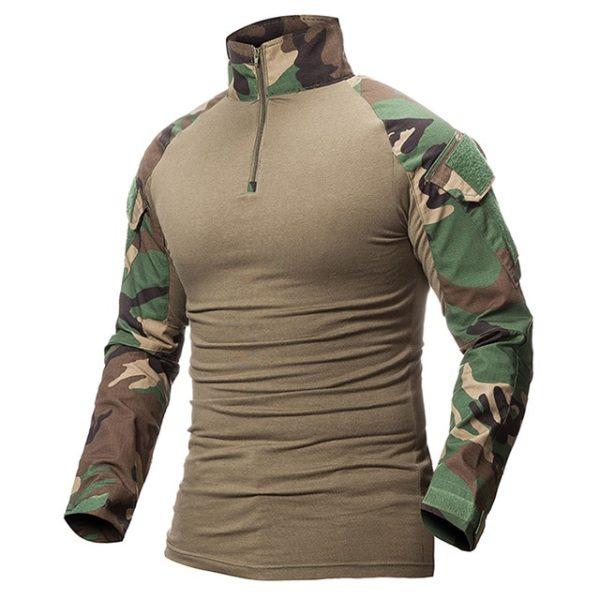 Vojenské pánské maskáčové tričko s dlouhým rukávem
