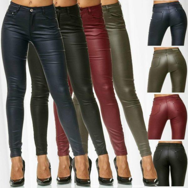 Dámské slim fit koženkové kalhoty