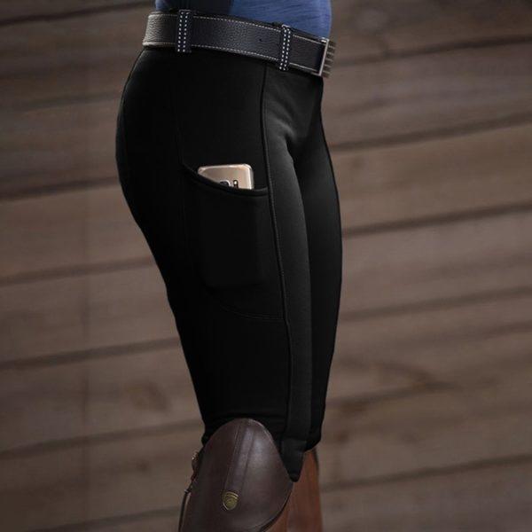 Jezdecké dámské kalhoty s vysokým pasem a kapsičkou