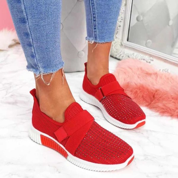 Women Sneakers 2020 New Bling Rhinestone Ladies Shoes Slip On Comfortable Sole Running Walking Shoes Female Flat Sports Shoes