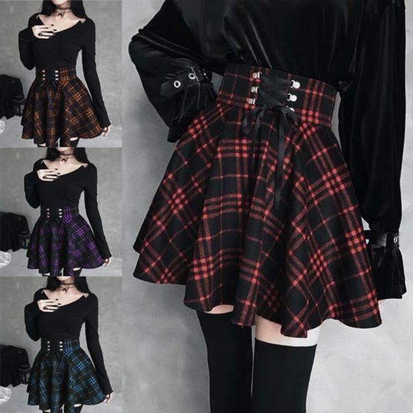 Gotická kostkovaná mini sukně s vysokým šněrovacím pasem