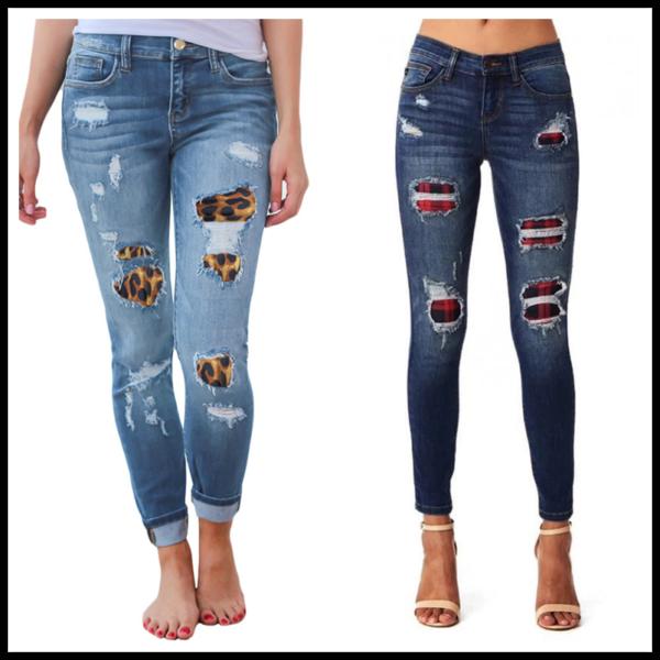 Dámské potrhané džíny s leopardími nášivkami