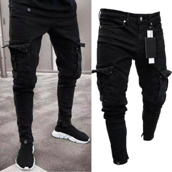 Módní pánské skinny džíny s kapsami
