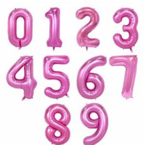 Růžová narozeninová velká nafukovací čísla
