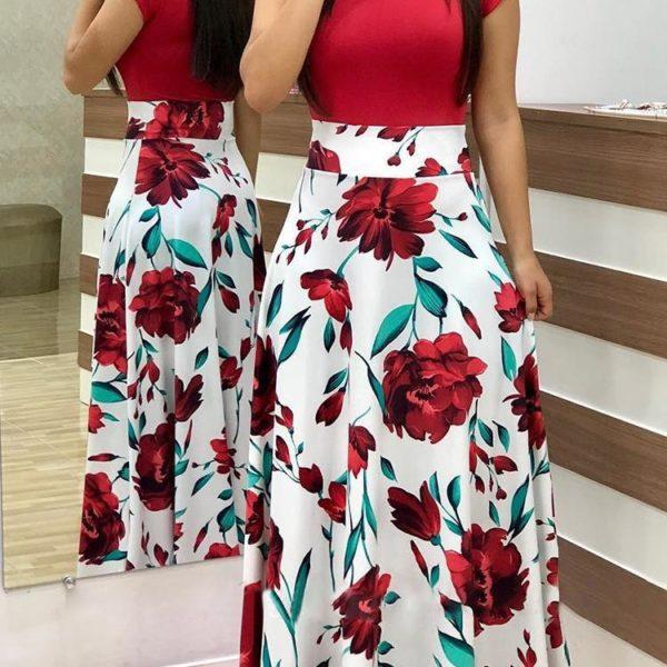Krásné dámské maxi šaty s květinovým vzorem