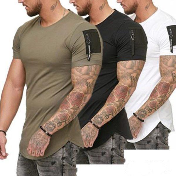 Pánské módní triko s malým zipem na rukávu