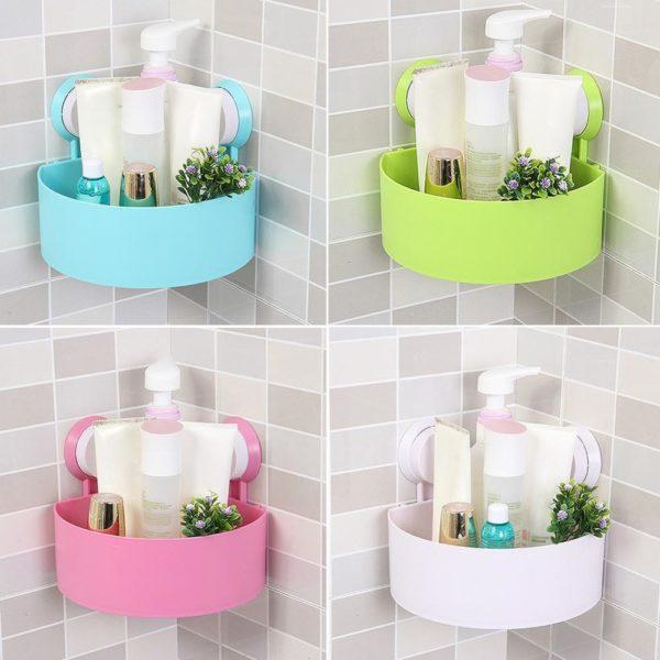 Krásná rohová police do koupelny v různých barvách