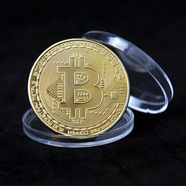 Kreativní suvenýr pozlacené Bitcoin mince