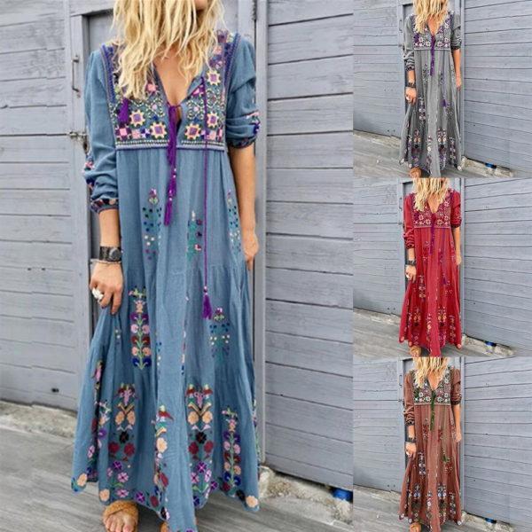 Dámské dlouhé maxi šaty s květinovým potiskem