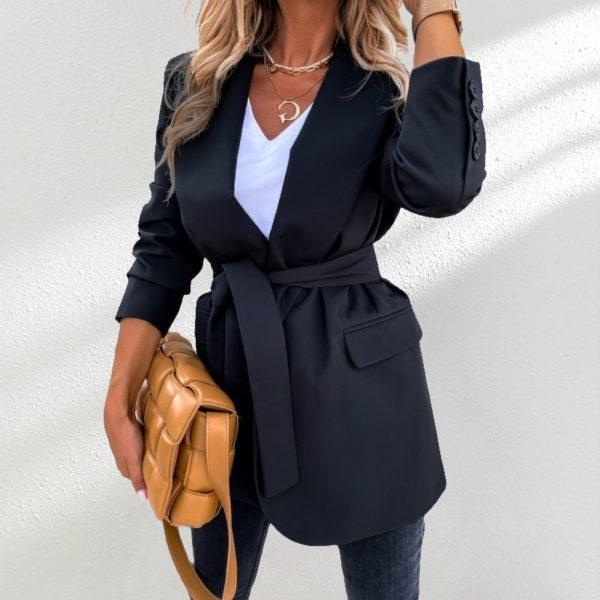 Dámské delší elegantní sako na zavazování