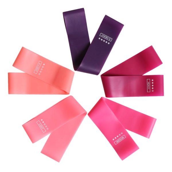 Set posilovacích růžových a fialových kvalitních gum