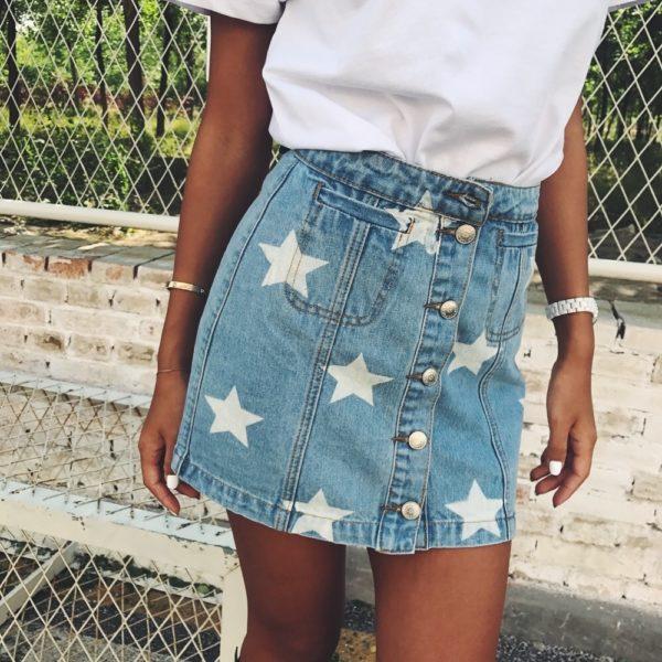 Dámská sukně s vysokým pasem a motivem hvězd