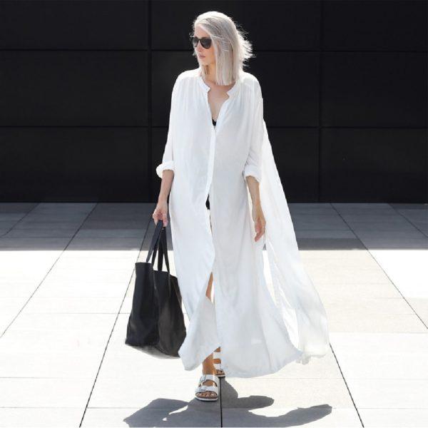 Nadměrné dámské letní šaty s dlouhým rukávem