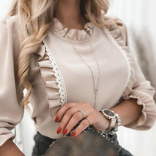 Luxusní dámská halenka s krajkou a nařasenými rukávy Valentina