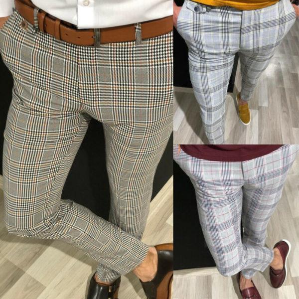 Pánské kostkované společenské kalhoty Connor